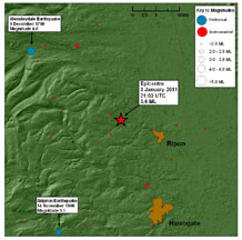 Historical and instrumental seismicity (all magnitudes) within 25 km of the epicentre since 1780